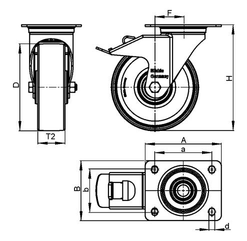 LPA-POA Rodajas giratorias de acero con rueda de nylon negro, con placa de montaje, serie de soportes estándar boceto