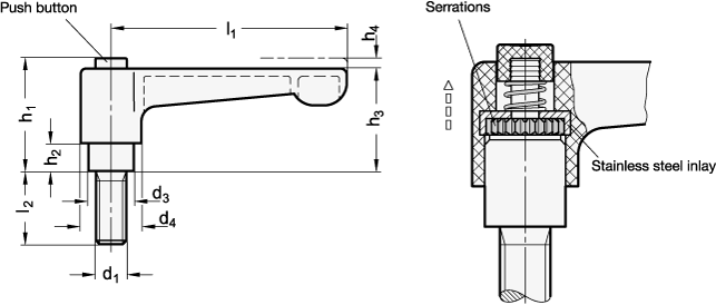 WN 304.1 Palancas ajustables rectas de nylon plastificado, con botón pulsador, tipo con espárrago roscado, con componentes de acero inoxidable boceto