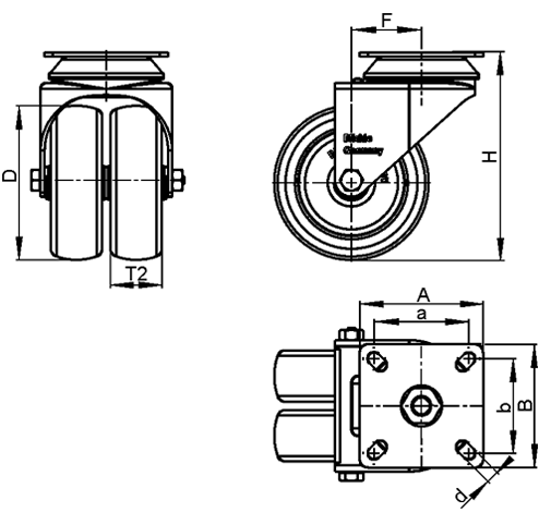 LDA-POA Steel Black Nylon Twin Wheeled Swivel Casters, with Plate Mounting, Standard Bracket Series sketch