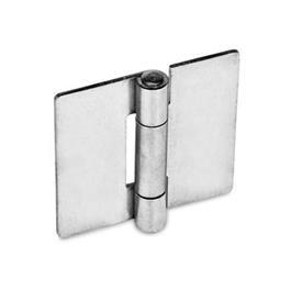 GN 136 Bisagras de chapa metálica de acero inoxidable, con orificios para tornillos de cabeza cilíndrica o tornillos avellanados Material: NI - Acero inoxidable<br />Tipo: A - Sin orificios, para soldar