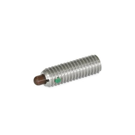 SPSSDN Stainless Steel Spring Plungers, With Delrin Nose