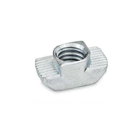 GN 505 Steel Serrated Quarter-Turn T-Nuts, For Aluminum Extrusions Type: OB - without increased torque