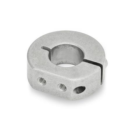 GN 7062.1 Collares de fijación semipartidos de acero inoxidable, con agujeros roscados con extensión Form: A - Agujeros roscados por extensión radial