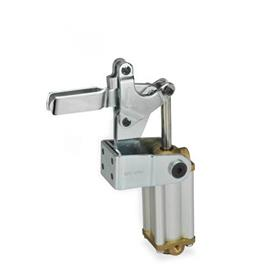 GN 862 Steel Pneumatically operated clamps, with Vertical Mounting Base with magnetic piston Type: APV3 - U-bar version with, two flanged washers