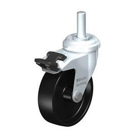 LRA-POA Rodajas giratorias de acero con ruedas de nylon negro,montaje con agujero para perno o vástago roscado, serie de soportes estándar Type: G-FI-GS