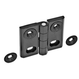 GN 127 Zinc Die-Cast Adjustable Alignment Hinges, With Alignment Bushings Type: B - Horizontal slots