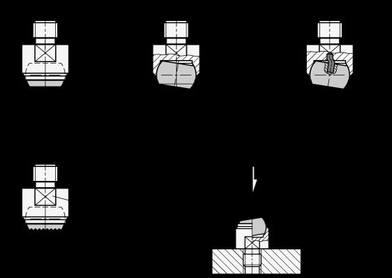GN 709.1 Almohadillas de sujeción de acero, con vástago roscado boceto