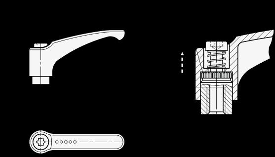 EN 602.1 Manijas ajustables de zinc fundido a presión Ergostyle®, roscadas con componentes de acero inoxidable boceto