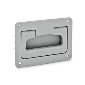EN 825.2 Technopolymer Plastic Folding Handles with Recessed Tray, with Spring-Loaded Return Color: GR - Gray, RAL 7040, matte finish