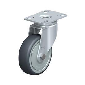 LKPA-TPA Rodajas giratorias de acero de servicio ligero, con ruedas de caucho termoplástico y soportes pesados Type: K-FK