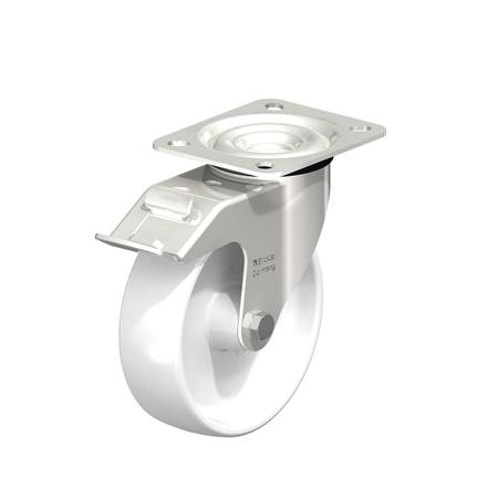LEX-PO Stainless Steel Nylon Wheel Swivel Casters, with Plate Mounting, Medium Duty Bracket Series Type: G-FI - Plain Bearing with Stop-Fix Brake