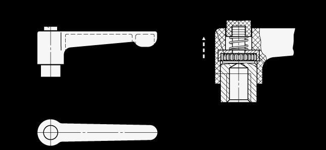 WN 304.1 Palancas ajustables rectas de nylon plastificado, con botón pulsador, con orificio roscado o ciego, con componentes de acero inoxidable boceto