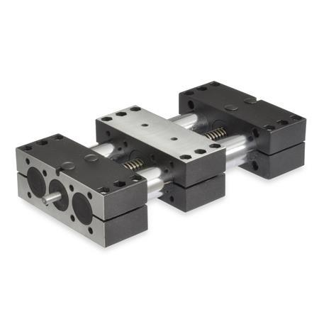 GN 491 Steel, Double Tube Linear Actuators, With Right Hand Thread, Single Slider