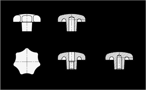 DIN 6336 Perillas de estrella de aluminio, orificios ciegos, orificios ciegos roscados u orificios pasantes roscados boceto
