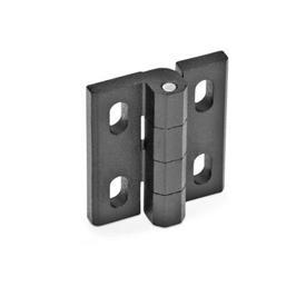 GN 235 Zinc Die-Cast Hinges, Adjustable Werkstoff: ZD - Zinc fundido a presión<br />Tipo: H - Ajustable horizontalmente<br />Acabado: SW - Negro, RAL 9005, acabado texturizado
