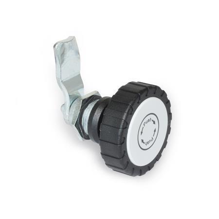 GN 115.9 Pestillos de zinc fundido a presión con función de seguridad, operación con elementos operativos, no bloqueables Tipo: RG - Funcionamiento con perilla moleteada GN 7336