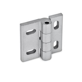 GN 235 Zinc Die-Cast Hinges, Adjustable Werkstoff: ZD - Zinc fundido a presión<br />Tipo: HB - ajustable vertical y/u horizontalmente<br />Acabado: SR - Plateado, RAL 9006, acabado texturizado