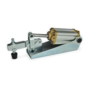 GN 860 Steel Pneumatic Toggle Clamps, with magnetic piston Type: CP3 - U-bar version, with two flanged washers and GN 708.1 spindle assembly