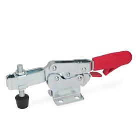 GN 820.3 Steel Horizontal Acting Toggle Clamps, with Safety Hook Latch, with Horizontal Mounting Base Type: MLC - U-bar version, with two flanged washers and GN 708.1 spindle assembly