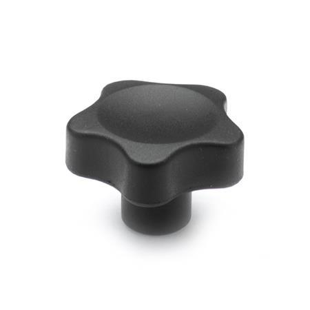 EN 5337.4 Technopolymer Plastic Solid Five Lobed Knobs, with Stainless Steel / Brass Insert