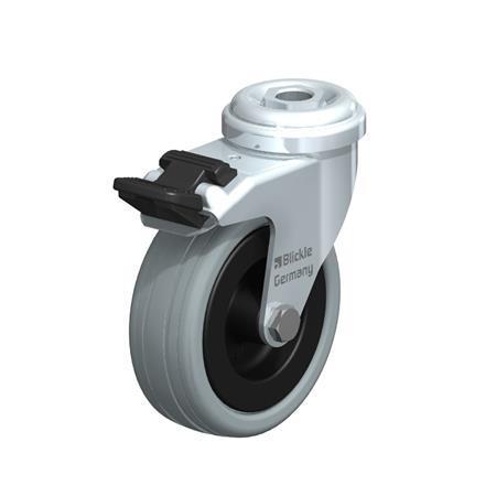 LRA-VPA Steel, Gray Rubber Wheel Swivel Casters with Bolt Hole Mounting, Standard Bracket Series Type: G-FI - Plain Bearing with Stop-Fix Brake