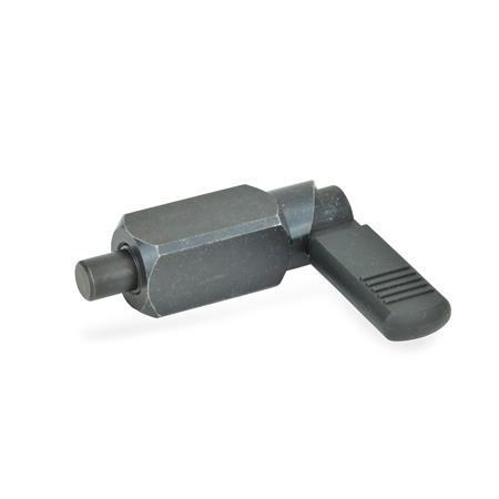 GN 612.3 Posicionadores de indexado por palanca, de acero, cuerpo cuadrado, se puede soldar Tipo: B - con tapón de plástico