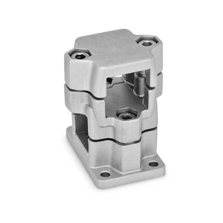 GN 141 Aluminum, Multi-Part Assembly, Flanged Two-Way Connector Clamps, Round or Square Bore Type   Finish: BL - Blank