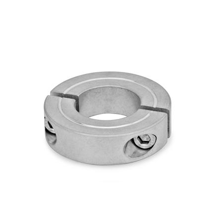 GN 707.2 Steel or Aluminum Two-Piece Split Set Collars Material: AL - Aluminum