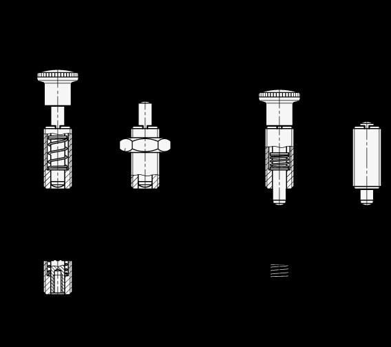GN 313 Acero / Posicionadores de muelle con perilla de plástico, posicionador en posición normal retraído boceto