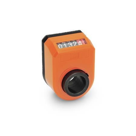 EN 953 Plastic Digital Position Indicators, 5 Digit Display Installation (Front view): AN - on the chamfer, above<br />Color: OR - Orange, RAL 2004