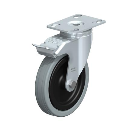 LKPA-VPA Zinc plated steel Light Duty Gray Rubber Wheel Swivel Casters, with Plate Mounting, Heavy Bracket Series  Type: G-FI - Plain Bearing with Stop-Fix Brake