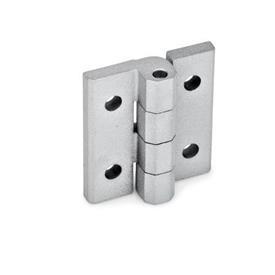 GN 235 Bisagras de zinc fundido a presión, ajustables Material: ZD - Zinc fundido a presión<br />Tipo: D - Con agujeros pasantes<br />Acabado: SR - Plateado, RAL 9006, acabado texturizado