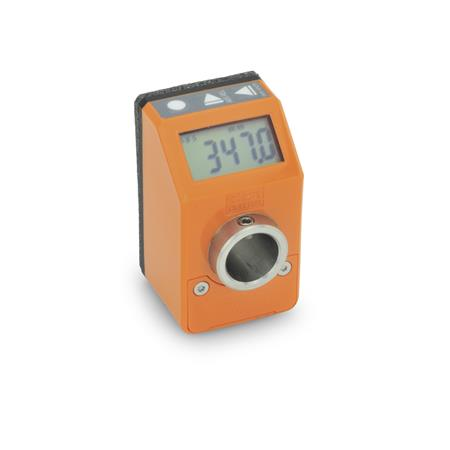 EN 9054 Position indicators, electronic, with LCD-Display (digital indication), 5 digits Color: OR - Orange, RAL 2004