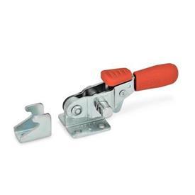 GN 851.3 Abrazaderas de palanca de tipo pestillo horizontal de acero, con base de montaje horizontal y brazo de sujeción, con gancho de seguridad Tipo: T - sin pestillo de tracción, con soporte de cierre<br />Material: ST - Acero