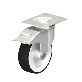 LEX-POTH Rodaja giratoria de acero inoxidable con rueda con banda de poliuretano, con placa de montaje Type: G-FI - Cojinete liso con freno «stop-fix»
