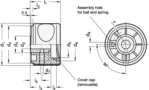 EN 624.5 Perillas de agarre suaves Ergostyle® de plástico tecnopolímero, con núcleo de acero inoxidable boceto