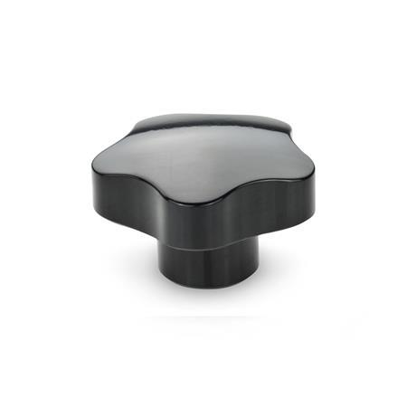 EN 5337.5 Phenolic Plastic Solid Five Lobed Knobs, with Stainless Steel Tapped Insert