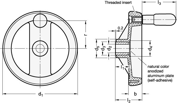 EN 522.5 Volantes de dos radios de plástico tecnopolímero, con empuñadura giratoria, con núcleo de acero inoxidable boceto
