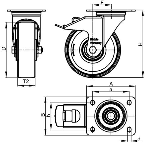 L-ALST Rodajas giratorias de aluminio estampado con acero, con soportes de servicio medio boceto