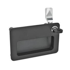 GN 115.10 Pestillos de zinc fundido a presión con bandeja de sujeción, bloqueables Tipo: SC - Funcionamiento con llave (misma cerradura)<br />Acabado: SW - Negro, RAL 9005, acabado texturizado<br />Identificación núm.: 2 - Funcionamiento, en la posición dibujada, en la parte superior derecha