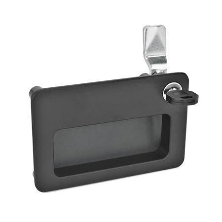 GN 115.10 Zinc Die-Cast Latches with Gripping Tray, Lockable Type: SC - Operation with key (same lock) Finish: SW - Black, RAL 9005, textured finish Identification no.: 2 - Operation, in drawn position, at the top right