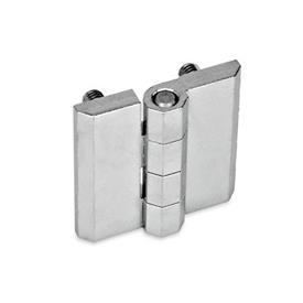GN 237 Zinc Die-Cast or Aluminum Hinges, Countersunk Thru Holes or Threaded Stud Type Material: ZD - Zinc die-cast<br />Type: C - 2x2 threaded studs<br />Finish: CR - Chrome plated finish