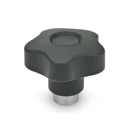 GN 5337.3 Technopolymer Plastic Safety Lobed Knobs, with Steel Tapped Insert Material: NI - Stainless steel