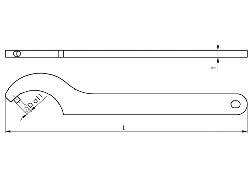 DIN 1810 Hook Spanner Wrenches with Fixed Pin, for round nuts with set pin holes inside, DIN 1816 sketch