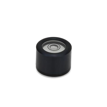 GN 2280 Aluminum Bull´s eye levels, with Mounting Threads Material / Finish: ALS - Black anodized finish