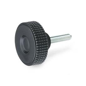 EN 534 Technopolymer Plastic Diamond Cut Knurled Knobs, with Threaded Stud