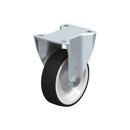 BH-POTH Steel Medium Duty Fixed Polyurethane Treaded Casters, with Plate Mounting, Medium-Heavy Duty Bracket Series Type: G - Plain Bearing