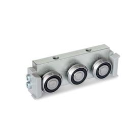 GN 2424 Metric Size, Aluminum or Steel, Cam Roller Carriages, For GN 2422 Cam Roller Guide Rails Type: R - Radial roller carriage, lateral arrangement<br />Version: U - with wiper for floating bearing rail (U-rail)