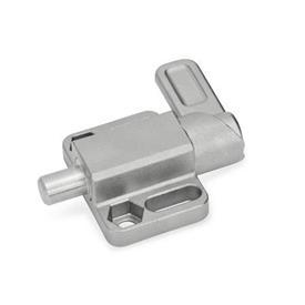GN 722.3 Pestillos de muelle cuadrados de acero inoxidable, con brida para montaje en superficies Tipo: R - palanca a la derecha