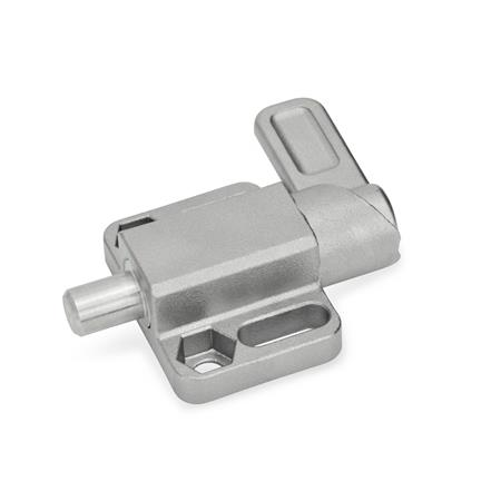 GN 722.3 Stainless Steel square spring latches, with flange for surface mounting Type: R - right indexing cam